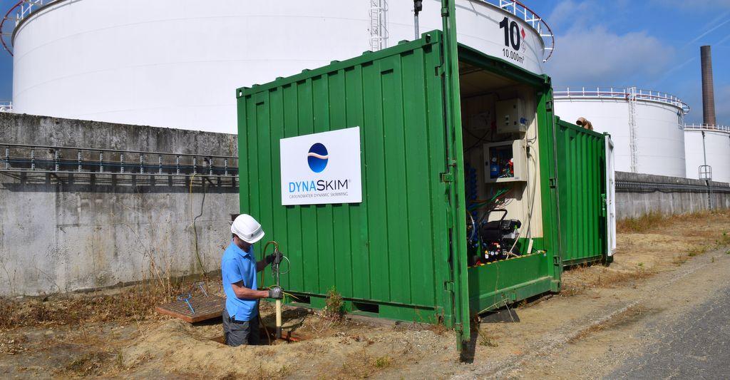 dynaskim-pompage-ecremage-récupération-hydrocarbures-dépollution-groundwater-skimming